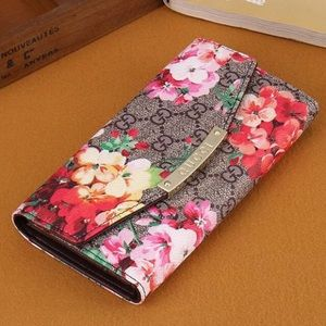 Gucci Women Leather Flower Print Purse Wallet